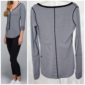 Lululemon Awesoma Henley Long Sleeve Striped Shirt
